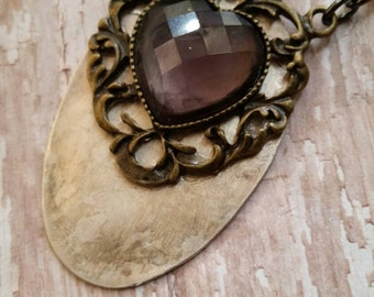 Rhinestone Silver Spoon Necklace