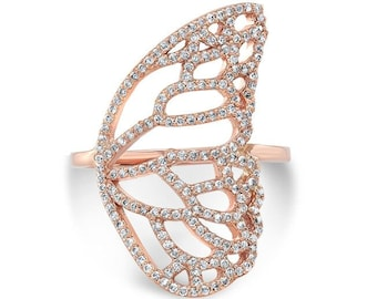 Butterfly Wing Ring Set with Diamonds on 14K Rose Gold