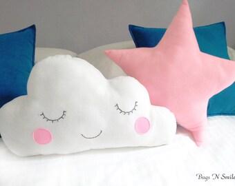 Cloud pillows -Kids Pillows -Infant pillow - Baby Pillow -Star nursery -baby gift -Set of cloud & star pillow- baby Shower gifts-pillows