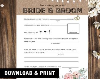 Rustic Wedding Mad Libs | Wedding Mad Libs | Wedding Madlibs | Wedding Advice Card | Marriage Advice | Funny Wedding Guest Book