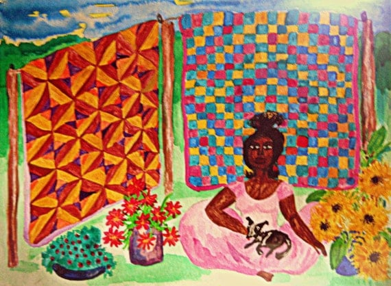 "FLOWER SALE, India Ink 15x11"" watercolor paper Black woman selling flowers & quilts Naive Outsider Art African American Art Stacey Torres"