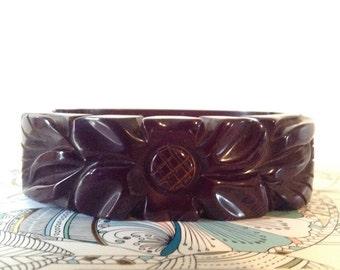 Vintage Chocolate Carved Bakelite Bangel Cuff Bracelet