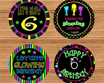 """Glow Party Favor Tags (personalized & printable)//Glow Party 2"""" circles// Glow Party Cupcake Toppers// Glow Party Stickers//Do-It-Yourself"""