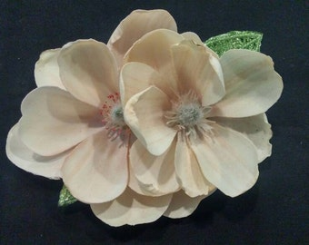 Double magnolia pinup hair flower with sparkle leaves