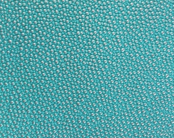 Turquoise Silver Pebble Dotted Vinyl Fabric - Sold By The Yard - 53""