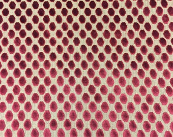 Red Gold Circle Burnout Velvet Fabric - Indoor Outdoor - Sold By the Yard - 56""
