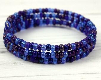 Blue Beaded Memory Wire Bracelet - Blue Beaded Bracelet - Triple Wrap Bracelet - Seed Bead Bracelet - Stack Bracelet - Boho Bracelet