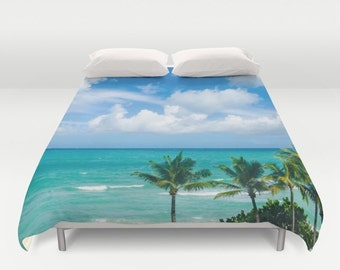 Palms Beach Duvet Cover Palm trees Miami florida palms beach Bedding ocean duvet cover sea blue sky duvet cover palms bedding miami duvet