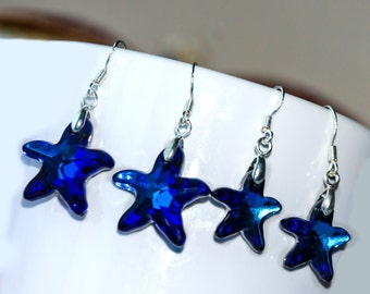 Bermuda blue starfish earrings, cobalt blue glass earrings, Bermuda blue starfish, Swarovski blue starfish, Ocean jewelry, Swarovski set
