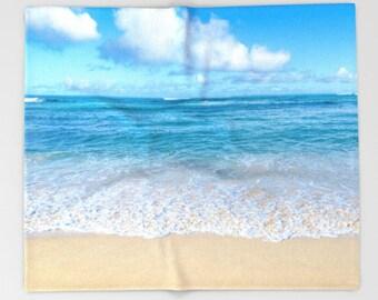 Hawaii beach Fleece Blanket surf ocean blanket throw blanket Hawaii blue, turquoise, sea coastal decor, 30x40, 50x60, 60x80, 88x104 Inches