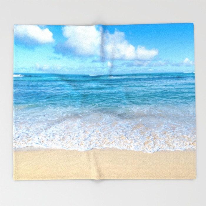 Hawaiian Beach Blanket: Hawaii Beach Fleece Blanket Surf Ocean Blanket Throw Blanket