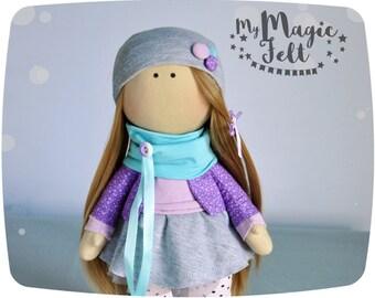 Rag doll collectible dolls cute cloth doll stuffed doll softie doll gift idea for birthday gift girl doll nursery decor