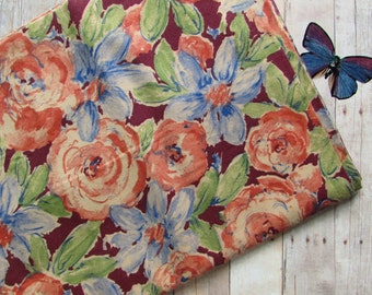 Watercolor Looking Fabric - Splashy Flowers - Stylized Roses and Daisies - 1 Yard