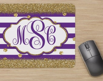 STRIPED MONOGRAM Mouse Pad, Computer, Personalized Decor, Gold Glitter, Office Supplies