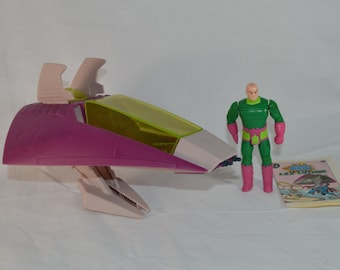 Lex Luthor and the Lex Soar 7 ship vintage action figure and vehicle Kenner Super Powers 1984 DC Comics