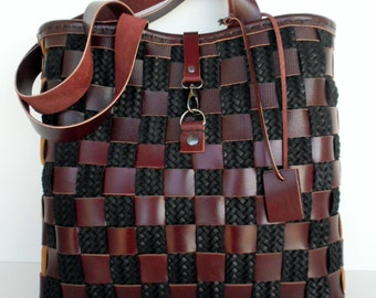 Brown tote, Brown Leather Tote, Market bag, Leather tote,Basket Leather bag, Messanger Leather Tote,Brown Leather Tote