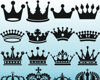 Crown Silhouettes Clipart, Royal Crown Clipart, Crown Silhouettes, King Queen Crown Clip Art, Royal Clipart, PNG JPG SVG