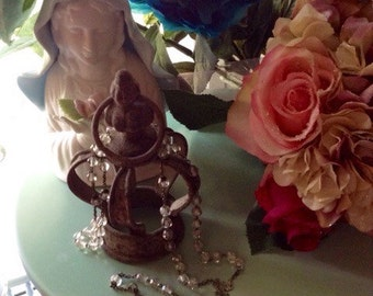 Delicate Antique Sterling Silver Iridescent Rosary Baptisum