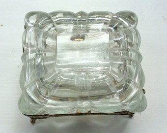 Vintage glass and metal trinket box
