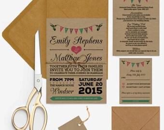 Rustic kraft bunting birds wedding invitations