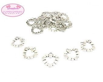 20 charms hearts silver Mat 25x27mm
