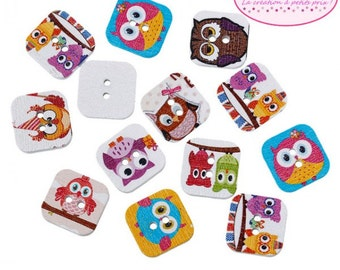 50 buttons shape square 15mm OWL OWL