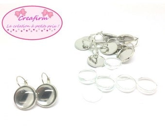 10 sleepers tray 16mm silver Platinum + 10 16mm glass Cabochons