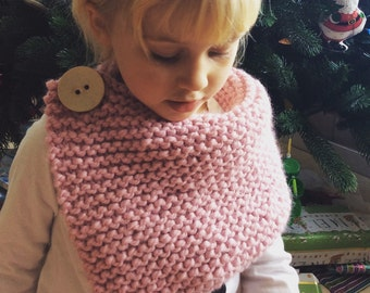 Pink Knit Scarf, Child's Knit Wrap, Girl's Pink Knit Cowl, Winter Scarf, Chunky Warm Cowl