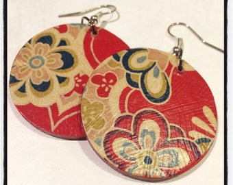 Red Japanese Flower Paper and Poker Chip Earrings