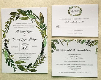 Greenery Wreath Wedding Invitation Suite - PRINTABLE