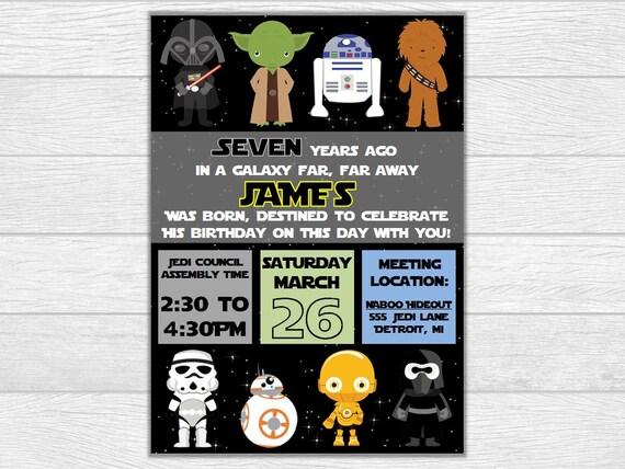 Star wars birthday, star wars invite, star wars invitation, birthday invitation, birthday invite, printable invitation, digital download