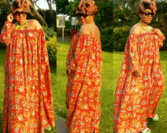 Curvyswan orange  vintage summer  maxi dress/ off shoulder maxi dress