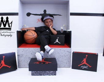 Giant Air Jordon Shoebox case stores up to 10-15 pairs of sneakers plus accessories  for your  storage box