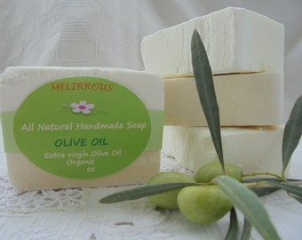 Olive Oil Soap,  100% Greek Extra Virgin Olive Oil, Unscented, Homemade, Organic, Natural, Vegan Soap.