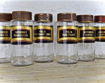 Set of six 19th century apothecary/chemist jars