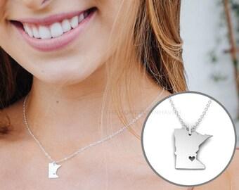 Minnesota State Necklace - I love Minnesota, Minnesota necklace
