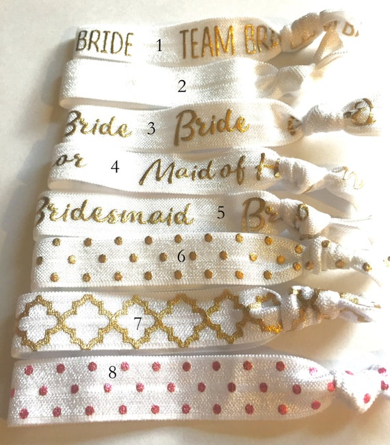 Choose Your Own-White Bridal/Bridal Party Hair Tie Set-Pick 6 hair ties