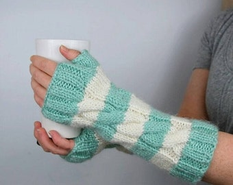 ON SALE Striped Fingerless Gloves | Long Arm Warmers | Knit Fingerless Mittens | Seafoam Green and White | Long Fingergless Gloves | Mint Te