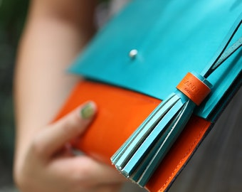 Customized handmade leather clutch, leather purse, evening bag. Choose your colors!