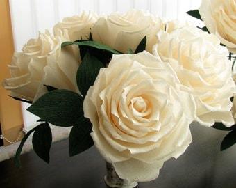 6 giant ivory paper roses, Giant flower, Set of wedding flowers, Wedding bouquet, Crepe paper flower, Wedding decor, Bridal bouquet Big rose