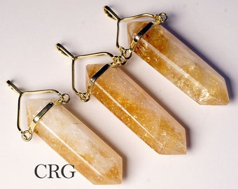 "Extra Quality Double Term Gold Plated Citrine Point Swivel Pendant & 18"" Chain (SQ12BT)"