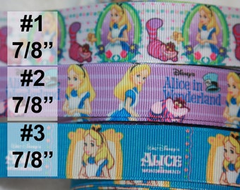 "Alice in Wonderland inspired 7/8"" grosgrain ribbon R332"