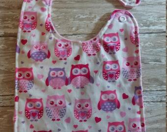 Baby Bib- Valentine's Owl, Valentine's Day Bib, 1st Valentines Bib, Baby Bibs, Minky Baby Bib, Personalized Baby Bib, Baby Boy or Baby Girl
