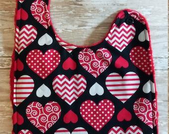 Baby Bib- Valentines Heart, Valentine's Day Bib, 1st Valentines Bib, Baby Bibs, Minky Baby Bib, Personalized Baby Bib, Baby Boy or Baby Girl