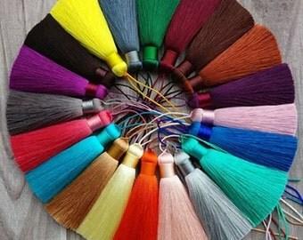 2pcs Silk Tassel,Mala Tassel,Quality Tassel,Silky Luxe Tassels, Boho Tassel,Craft Supplies,Designer Jewelry Making TAS001