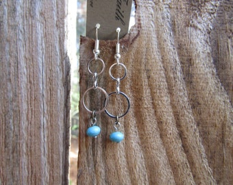 silver plated and turquoise earrings