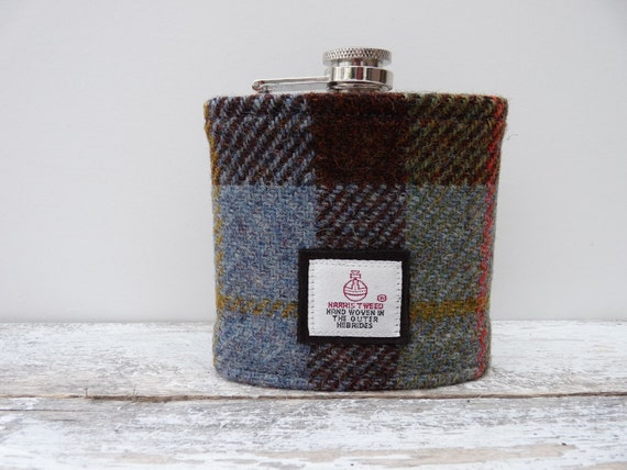 Scottish Wedding Gifts: Harris Tweed Hip Flask Scottish Gift Groomsman Best Man