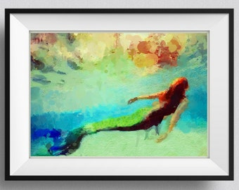 Mermaid  Print,Painting, home Decor,Gift for her, Mermaid summer party,Girl,Sister, Wall Art. Pic  No 116
