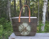 Large Waxed Cotton Canvas Tote Bag w/Liner - Olive drab - Leather Handles