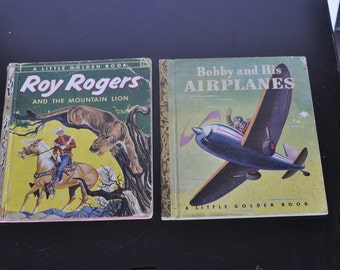 Two Little Golden Books, Roy Rogers and the Mountain Lion, Bobby and His Airplane